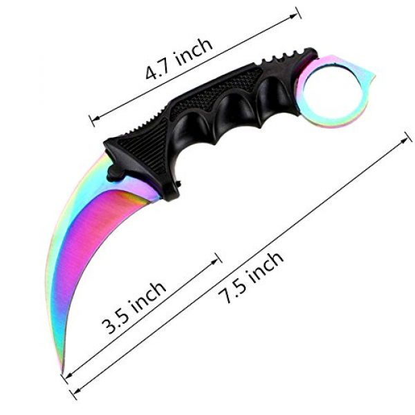 WeTop Fixed Blade Survival Knife 3 WeTop Karambit Knife, Tactical Combat Karambit Neck Knife, CS-GO Stainless Steel Tactical Knife with Sheath and Cord, Nice Knife for Outdoor Survival, Camping or Self Defenses (Rainbow)