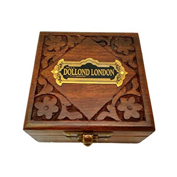 Antiqula Survival Compass 5 Brass Compass Handmade Gift Pocket with Rosewood Box Waterproof Anti Shock Outdoor Ship Camping Hiking Antique Compass Navigation Tool and Vintage Home Decor Wooden Carving Box