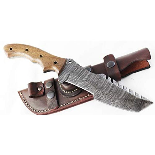 Moorhaus Fixed Blade Survival Knife 2 Moorhaus Damascus Knife Handmade Tanto Tracker - Walnut Wood Handle - Includes Leather Sheath - Special Promotional Pricing