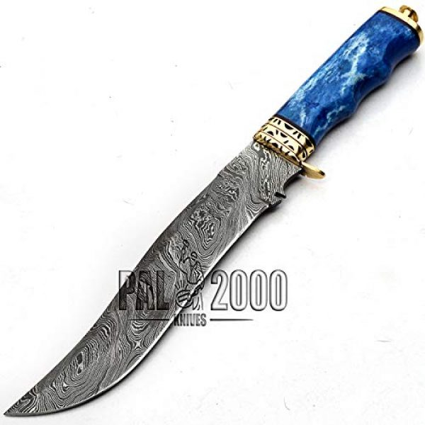 PAL 2000 KNIVES Fixed Blade Survival Knife 6 Damascus Knives - Stained Camel Bone Handle - 13 Inches - Handmade Damascus Steel Knife With Leather Sheath - Fixed Blade - New Pattern Blade Sharp Edge 9713