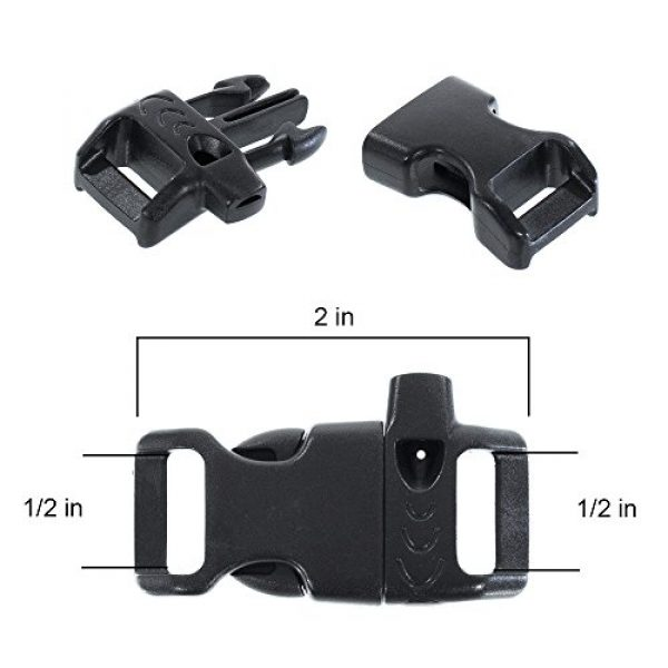 PARACORD PLANET Survival Buckle 3 PARACORD PLANET Plastic Side-Release Emergency Whistle Buckle - 1/2 Inch - Black