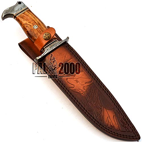 PAL 2000 KNIVES  2 PAL 2000 KNIVES - Handmade Damascus Knife 13 Inches Rose Wood Handle with Sheath 9660