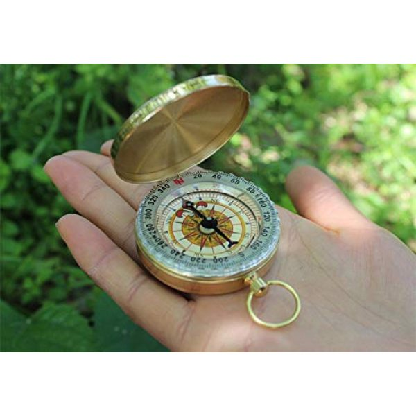 Laupha Survival Compass 6 Laupha Survival Gear Compass Pocket Military Antique Compass for Kids Accurate Waterproof for Hiking Outdoor Camping Motoring Boating Backpacking Compass Tool