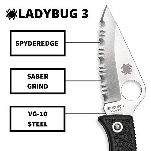 "Spyderco  3 Spyderco Ladybug 3 Signature Folding Knife with 1.9"" VG-10 Steel Blade and Lightweight Black FRN Handle - SpyderEdge - LBKS3"