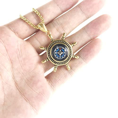 DETUCK  5 DETUCK(TM Rudder Compass Necklace Gold   Compass Necklace for Women Men Dad Mom   Compass Necklace Graduation Gift Birthday Gift Boxes Wrap
