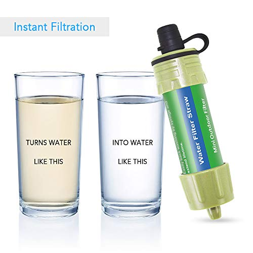 Lixada  2 Lixada 2PCS Water Filter Straw with 5000L Filtration 0.01 Micron Purifier Survival Gear for Hiking