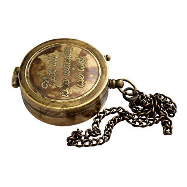 MAH Survival Compass 4 MAH Not All Who Wander are Lost Engraved Brass Compass with Leather Case, Pirates Compass, Magnetic Navigational Instrument. C-3271