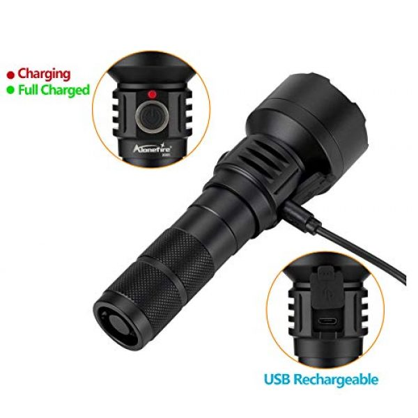 ALONEFIRE Survival Flashlight 6 ALONEFIRE X005 LED Tactical Flashlight High Lumens Rechargeable Waterproof Flashlight with 18650 Lithium Battery for Camping Outdoor Emergency Hiking