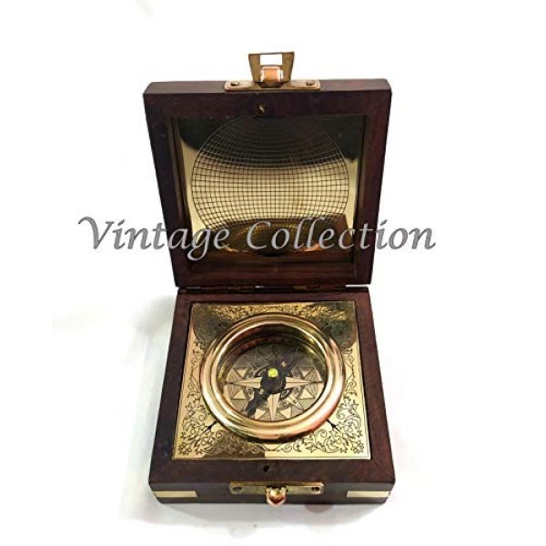 Marineantiques Survival Compass 2 Marineantiques Antique Nautical Brass Compass in Wooden Box