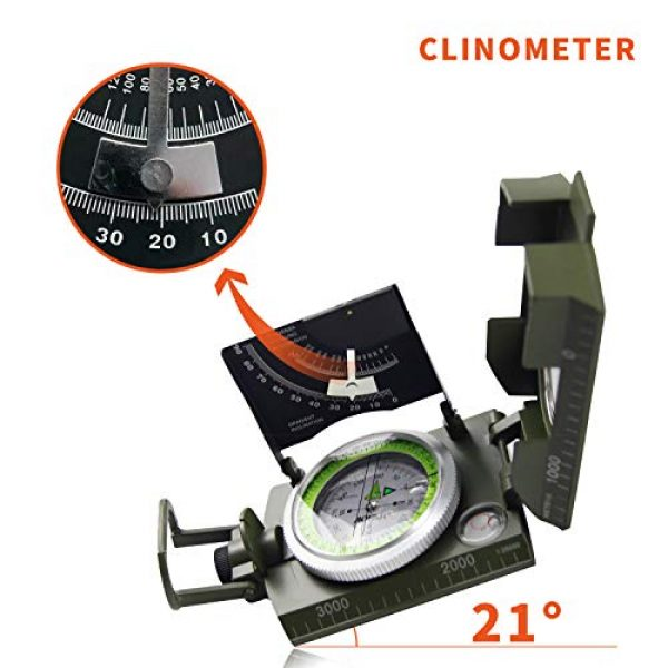 AOFAR Survival Compass 6 AOFAR AF-4074 Military Camo Compass for Hiking,Lensatic Sighting Waterproof,Durable,Inclinometer for Camping,Boy Scount,Geology Activities Boating