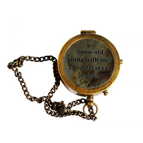 MAH Survival Compass 3 MAH Grow Old with ME Engraved Brass Compass ON Chain with Leather CASE, Directional Magnetic Compass. C-3273