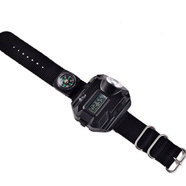 BlueSunshine Survival Flashlight 2 BlueSunshine Super Bright Wrist LED Light USB Rechargeable Waterproof LED Flashlight Wristlight Watch with Compass, Best for Running Biking Mountain Climbing Camping Hiking Patrol Hunting