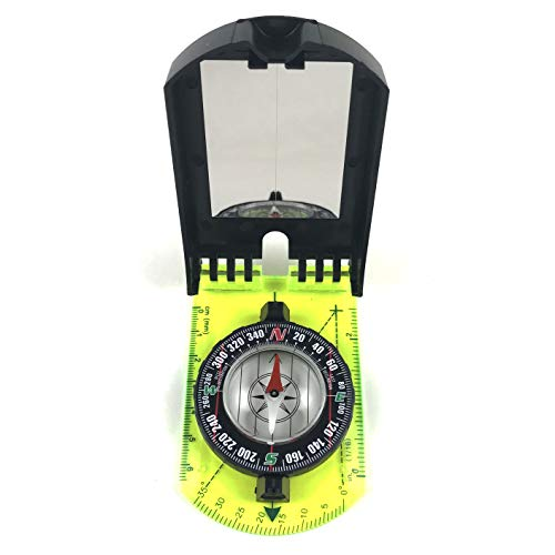 DETUCK  3 DETUCK(TM Map Compass and Protractor Green Acrylic Rotating Bezel Sighting Compass with Mirror for Camping Hiking Hunting Boating Mapping Drawing Outdoor