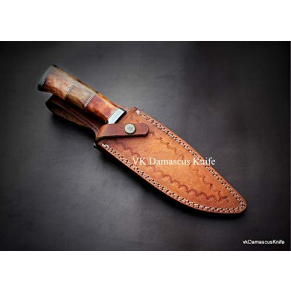 JNR Traders Fixed Blade Survival Knife 4 JNR Traders vk0077 Handmade Damascus Steel Bowie Hunting Knife Camel Bone Handle 12.50 Inches