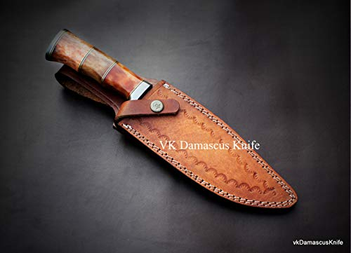 JNR Traders  4 JNR Traders vk0077 Handmade Damascus Steel Bowie Hunting Knife Camel Bone Handle 12.50 Inches