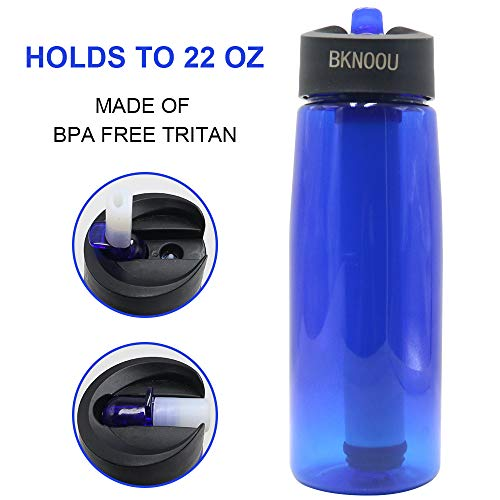 BKNOOU  4 BKNOOU Water Filtering Bottle 2-Stage Filter Straw Water Purifier Bottle for Camping Hiking Outdoor Traveling Sports Backpacking