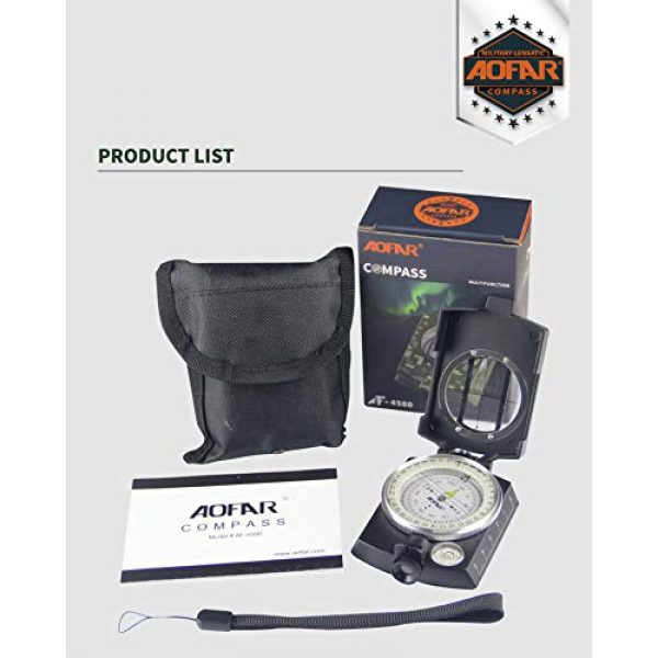 AOFAR Survival Compass 4 AOFAR AF-4580 Military Black Compass Lensatic Sighting Navigation, Waterproof and Shakeproof with Map Measurer Distance Calculator, Pouch for Camping, Hiking, Hunting, Backpacking