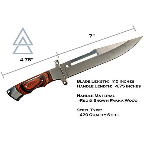 """Kratos Fixed Blade Survival Knife 3 Kratos ZF1 Hunting Knife   7"""" Quality Steel Fixed Blade   Outdoor   Sharp Durable Edge   Wood Style Handle   w/Sheath"""