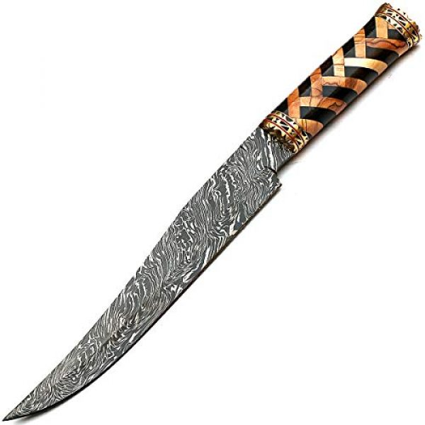 PAL 2000 KNIVES Fixed Blade Survival Knife 7 Beautiful Damascus Knives Best Hand Forged Damascus Steel Knife with Sheath Sharp Edge Blade New Pattern Rosewood, Olive Wood Handle - STNN-9277