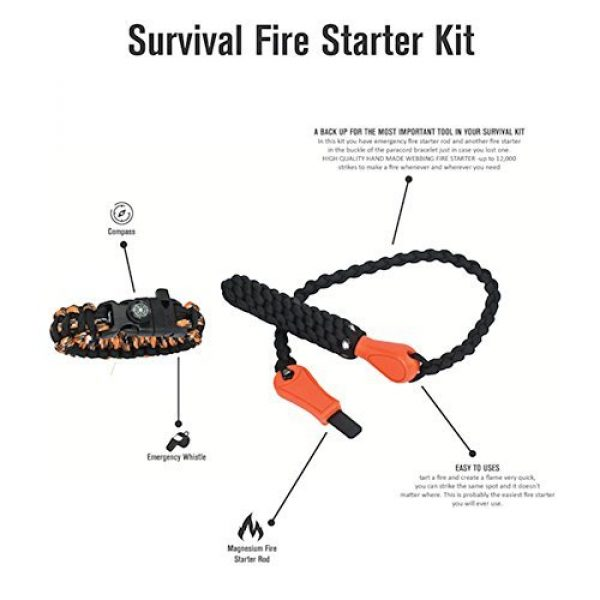 Survival-Zone Survival Fire Starter 3 Emergency Fire Starter Kit Magnesium Rod Camping Survival Tool Paracord Bracelet With Compass And Whistle