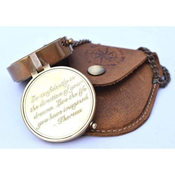 NEOVIVID Survival Compass 5 NEOVIVID Thoreau's Go Confidently Quote Engraved Compass with Stamped Leather case, Graduation Day Gifts