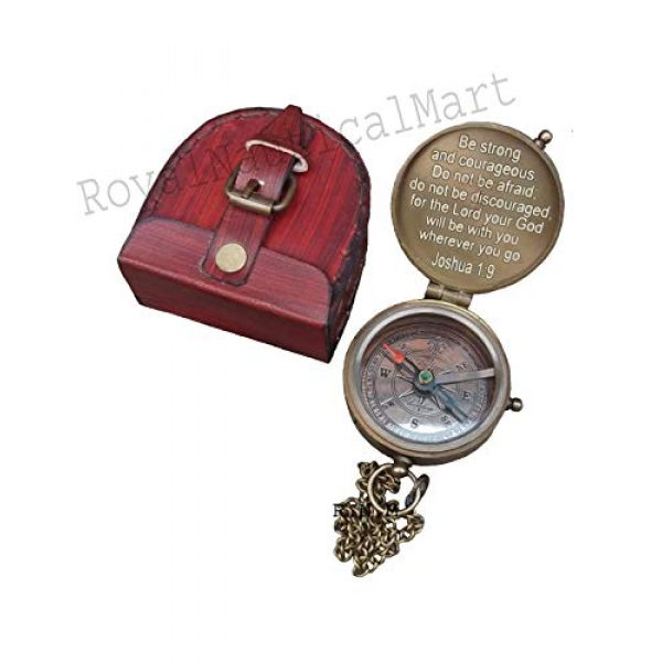 Royalmart Survival Compass 2 Royalmart Antique Compass Be Strong and Courageous Verse with Joshua Cross Engraved on Working Compass, Confirmation Gift Ideas, Graduation Gifts, Faith Gift, Vintage Gift