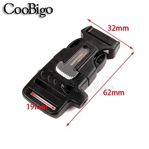 "CooBigo  2 10Pcs 3/4"" (19mm) Fire Starter Survival Whistle Buckle Flint Scraper for Outdoor Hiking Camping Backpack Bag"