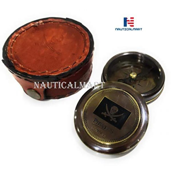 """NauticalMart Survival Compass 2 Brass Compass Pirates of Caribbean Jack Sparrow 2"""" Pocket Antique Gift with Beautiful Leather Case"""