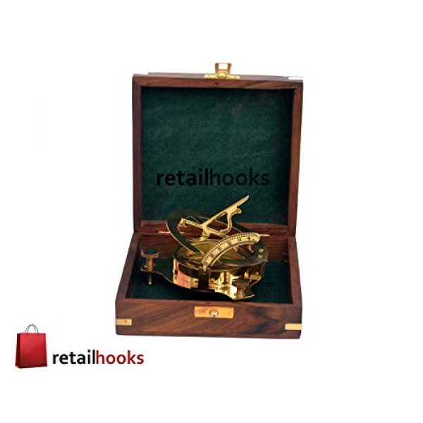"""RETAILHOOKS Survival Compass 3 RETAILHOOKS 3"""" Sundial Compass in Solid Brass with Rosewood Box for Hiking, Camping, Boating and Backpacking - Nautical Navigational Device"""