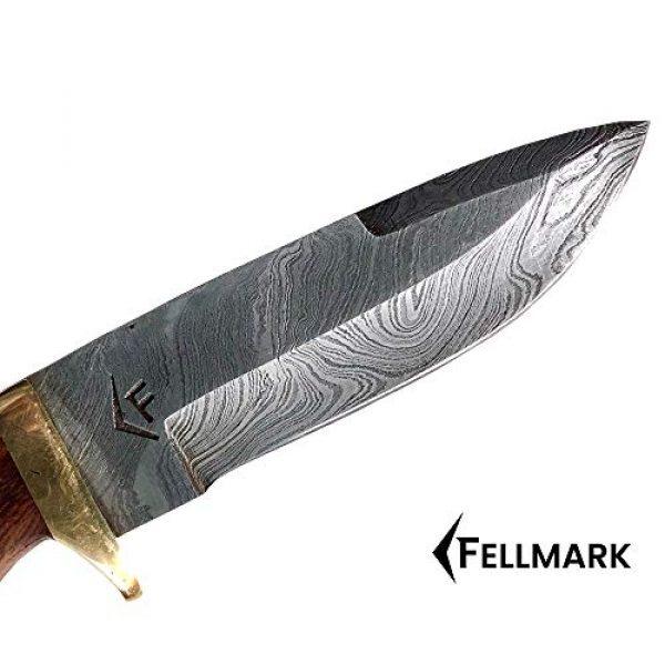 "Fellmark Fixed Blade Survival Knife 2 Fellmark Damascus Steel Hunting Knife with Sheath Kratt Scandi Grind Bushcrafting Knife 7.9"" Full Tang Camping Blade"
