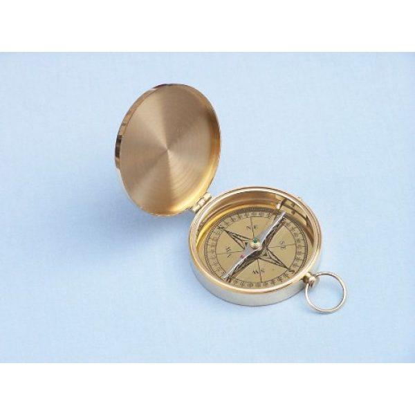 "Hampton Nautical Survival Compass 5 Hampton Nautical Solid Brass Gentlemen's Compass with Rosewood Box, 4"", Brass"