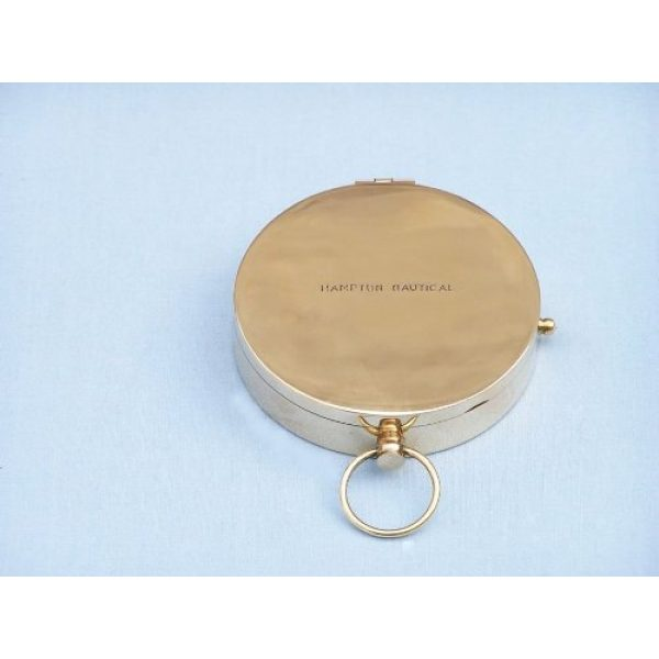 "Hampton Nautical Survival Compass 4 Hampton Nautical Solid Brass Gentlemen's Compass with Rosewood Box, 4"", Brass"