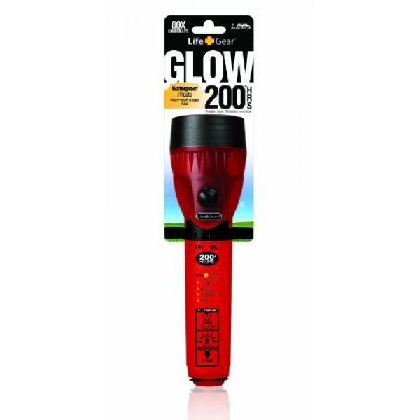 Life Gear Survival Flashlight 2 Life Gear Mini LED Flashlight with Glow Handle, Red Body
