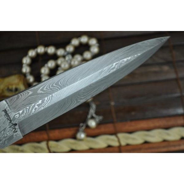 Perkin Fixed Blade Survival Knife 5 Perkin Knives - Custom Handmade Damascus Hunting Knife - Double Edge Knife