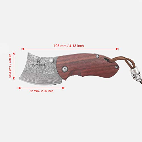 Kimter  2 Kimter Handmade Mini Pocket Knife 4.13 Inch Rosewood Handle Tactical Knife with Liner Lock EDC for Camping Hunting Gifts/Collections