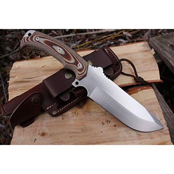 Cudeman Fixed Blade Survival Knife 6 Cudeman Survival Knife ENTRESIERRAS 155-XC MOVA with Brown Leather Sheath, Sport Use, Complete Kit, Camping Tool for Fishing, Hunting, Sport Activity + Multi-Purpose Gift Card