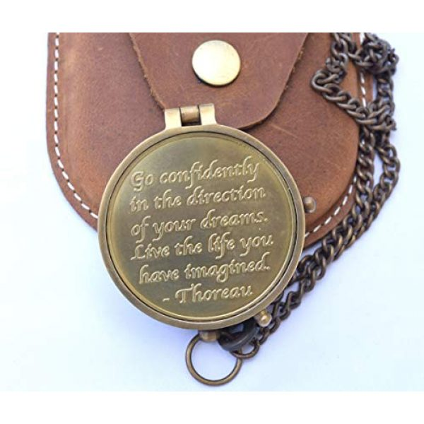 NEOVIVID Survival Compass 3 NEOVIVID Brass Compass Engraved with Thoreau's Go Confidently Quote and Stamped Leather Case, Boys Gifts
