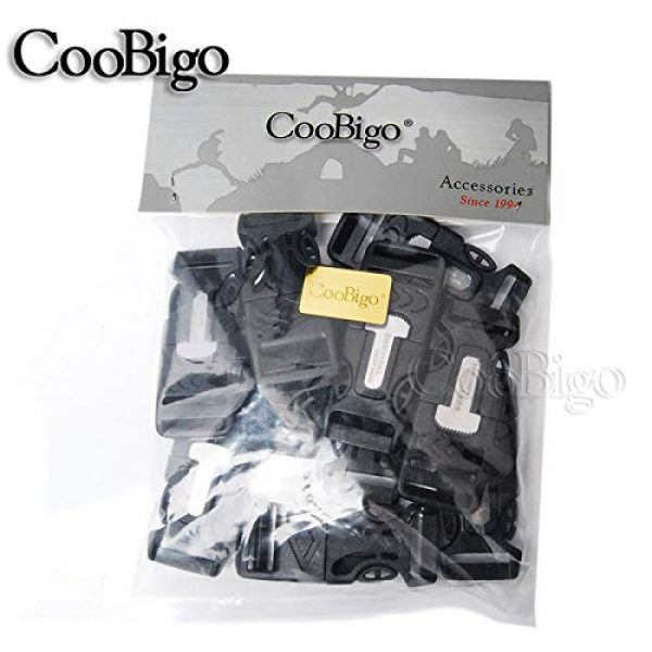 "CooBigo Survival Buckle 4 10Pcs 3/4"" (19mm) Fire Starter Survival Whistle Buckle Flint Scraper for Outdoor Hiking Camping Backpack Bag"