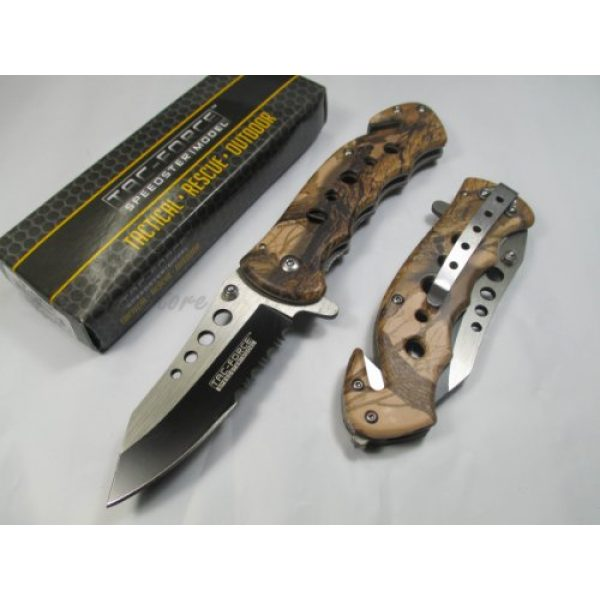 Hardware & Outdoor Folding Survival Knife 2 Tac Force Assisted Opening Rescue Tactical Pocket Folding Stainless Steel Blade Knife Outdoor Survival Camping Hunting - Brown Camo