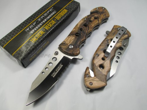 Hardware & Outdoor  2 Tac Force Assisted Opening Rescue Tactical Pocket Folding Stainless Steel Blade Knife Outdoor Survival Camping Hunting - Brown Camo