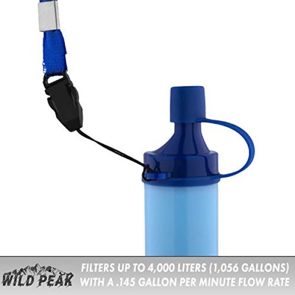 Wild Peak Survival Water Filter 10 Wild Peak Stay Alive-1 Outdoor 4-Stage 4000 Liter Water Filter Emergency Straw with Activated Carbon for Survival, Camping, Hiking, Climbing, Backpacking (2-Pack)