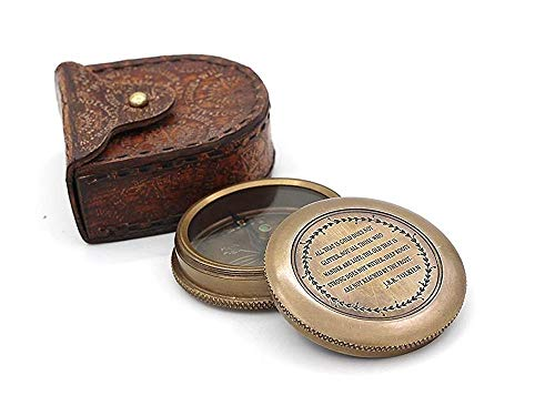 Roorkee Instruments India Survival Compass 2 Roorkee Vintage Brass Compass with Leather Case/J.R.R. Tolkien Directional Magnetic Compass for Navigation/Tolkien Compass for Camping, Hiking, Touring/Gift for Him