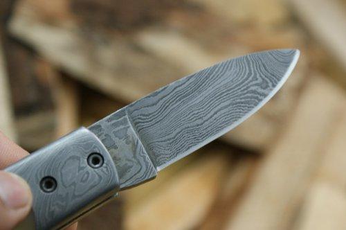 Knife King  3 Knife King Custom Damascus Handmade Folding Knife. with Leather Sheath