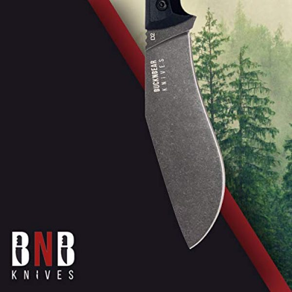 BUCKNBEAR KNIVES Fixed Blade Survival Knife 7 BucknBear Custom Handmade D2 Steel Fixed Blade Kukri Tactical Survival Knife (G10 Handle)