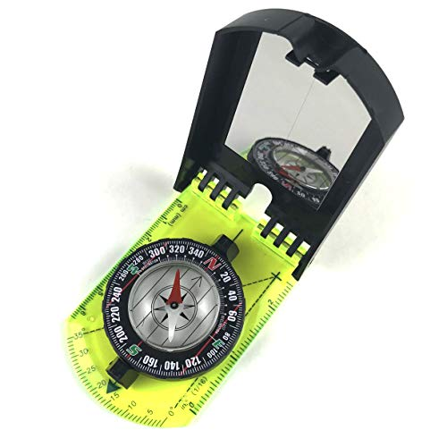 DETUCK  2 DETUCK(TM Map Compass and Protractor Green Acrylic Rotating Bezel Sighting Compass with Mirror for Camping Hiking Hunting Boating Mapping Drawing Outdoor