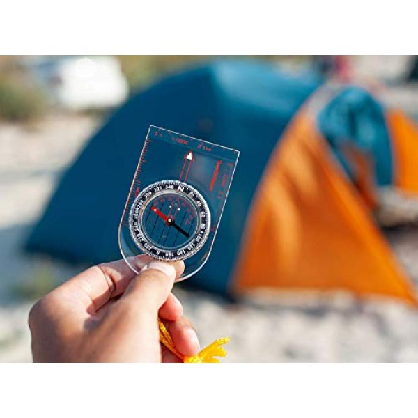 TurnOnSport Survival Compass 6 Boy Scout Compass Hiking Backpack - Orienteering Compass Kids Camping Kit - Kids Compass Navigation Map Reading - Small Survival Compass - Waterproof Hiking Compass Lightweight - Mini Camping Compass