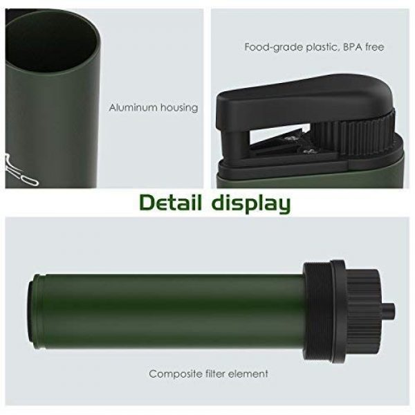 MoKo Survival Water Filter 7 MoKo Portable Water Filter & Filter Cartridge Replacement Bundle, Emergency Personal Camping Water Purifier, with Internal Carbon and Ultra Filter Assembly, 0.01 Micron Absolute Hollow Fiber Membrane,