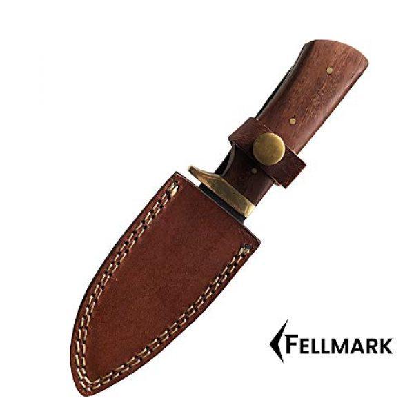 "Fellmark Fixed Blade Survival Knife 4 Fellmark Damascus Steel Hunting Knife with Sheath Kratt Scandi Grind Bushcrafting Knife 7.9"" Full Tang Camping Blade"