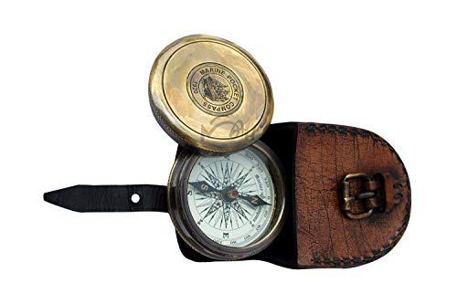 MAH Survival Compass 4 MAH Robert Frost Brass Poem Compass. C-3122