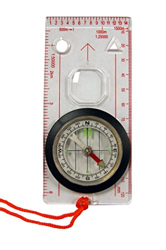 UST Survival Compass 2 UST Deluxe Map Compass with Raised Base Plate and Swivel Bezel for Hiking, Camping, Backpacking, Emergency and Outdoor Survival